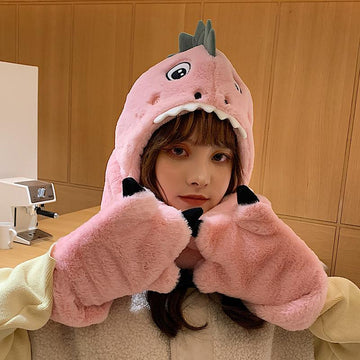Modakawa Hat Pink with Gloves / One Size Dinosaur Movable Ears Hat Scarf