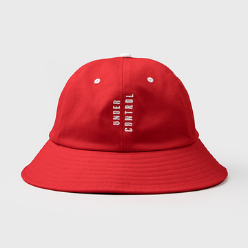 Modakawa Hat Red Dollar Face Number Print Cotton Bucket Hat
