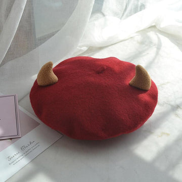 Modakawa Hat Red / One Size Kawaii Little Devil Horns Beret Hat