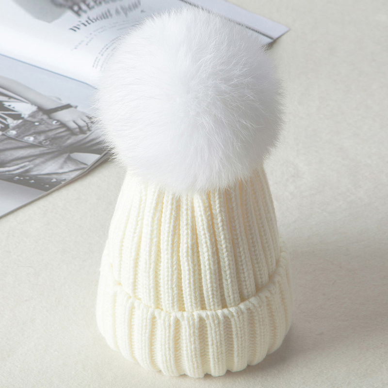 Modakawa Hat White / Normal / One Size Fuzzy Ball Knitted Beanie Hat