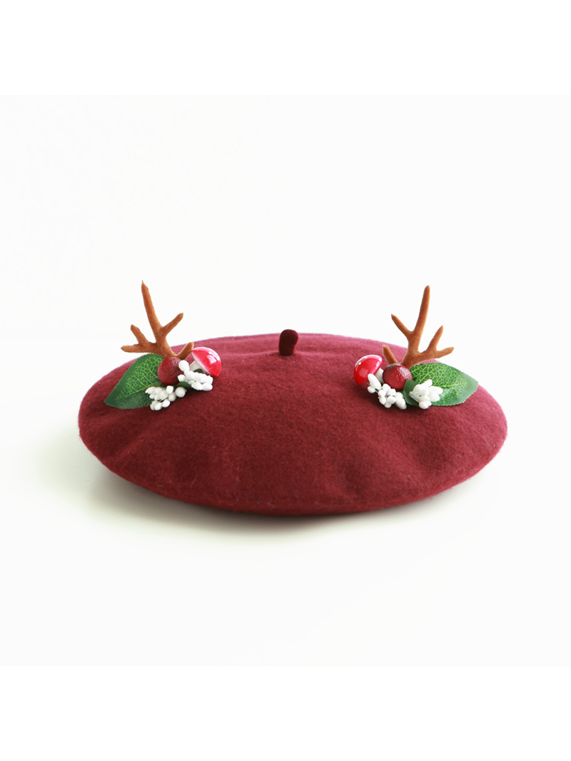 Modakawa Hat Wine Red Artsy Christmas Forest Antler Beret