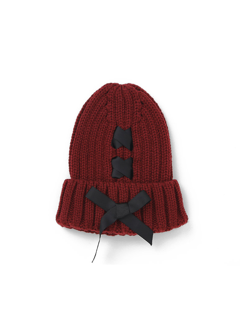 Modakawa Hat Wine Red Bowknot Knitted Beanie Hat