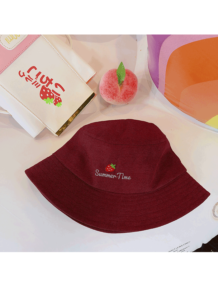 Modakawa Hat Wine Red Strawberry Embroidery Bucket Hat