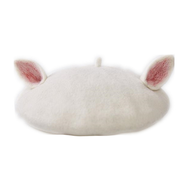 Modakawa Hat Wool Felt Cat Ears Beret Hat
