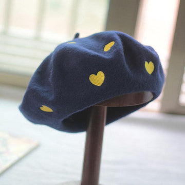 Modakawa Hats Blue / One Size Yellow Love Heart Embroidery Beret Hat