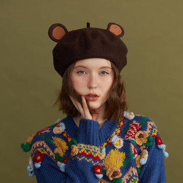 Modakawa Hats Brown / One Size Cute Bear Ears Brown Beret Hat