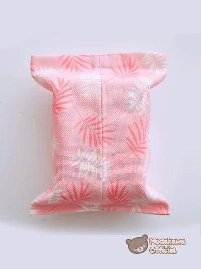 Modakawa Home Leaves / No Strap Pink Tissue Box Cover