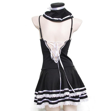 Modakawa Intimates Black / One Size Japanese Lace Up Bow Lingerie Dress