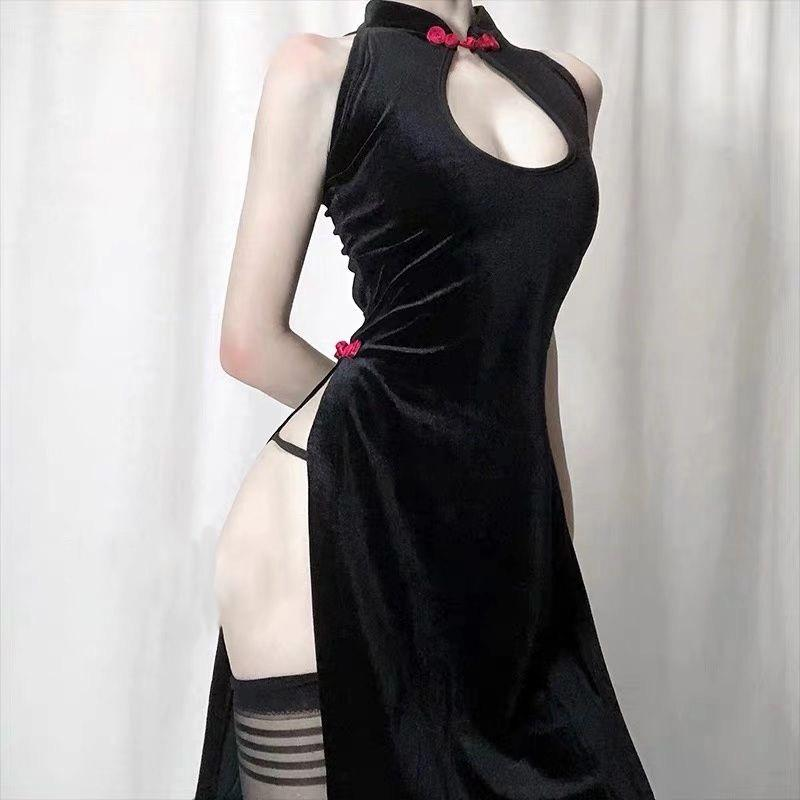 Modakawa Intimates Black / One Size Vintage Lace-up Hollow Out Velvet Lingerie Dress