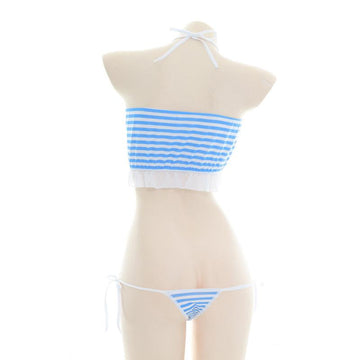Modakawa Intimates Blue / One Size Love Heart Hollow Out Kitty Ears Stripe Halter Lingerie Bikini Set
