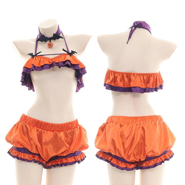 Modakawa Intimates Orange / One Size Devil Pumpkin Bell Ruffle Halter Lingerie Set