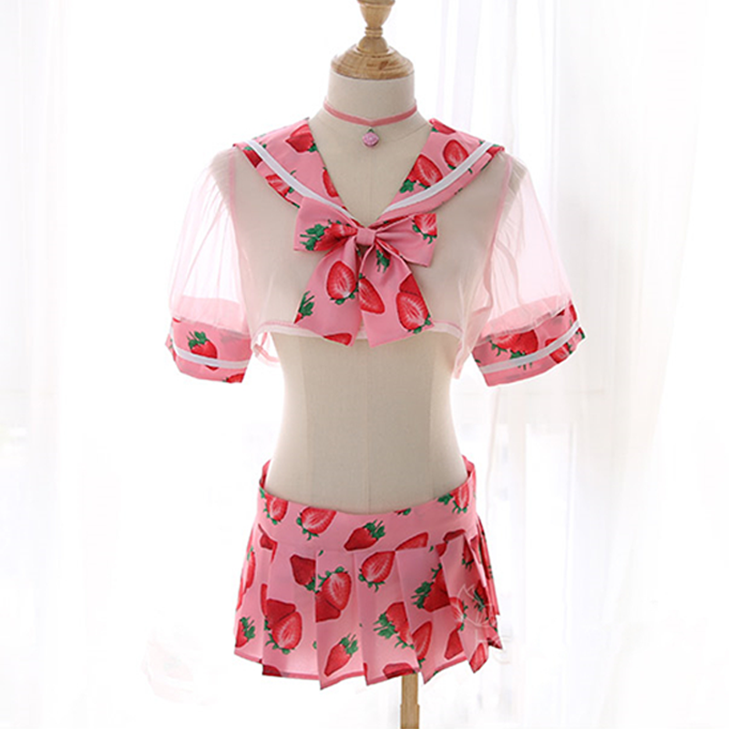 Modakawa Intimates Pink / One Size Sweet Strawberry School Uniform for Girls