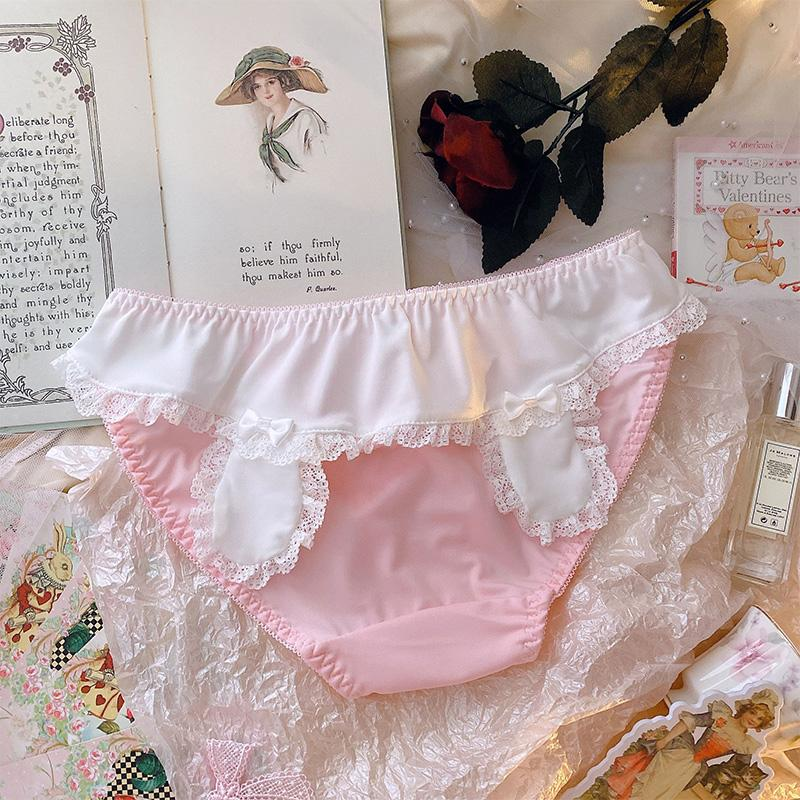 Modakawa Intimates Pink with Fuzzy Ball / M Bunny Ears Lace Ruffle Fuzzy Ball Panties