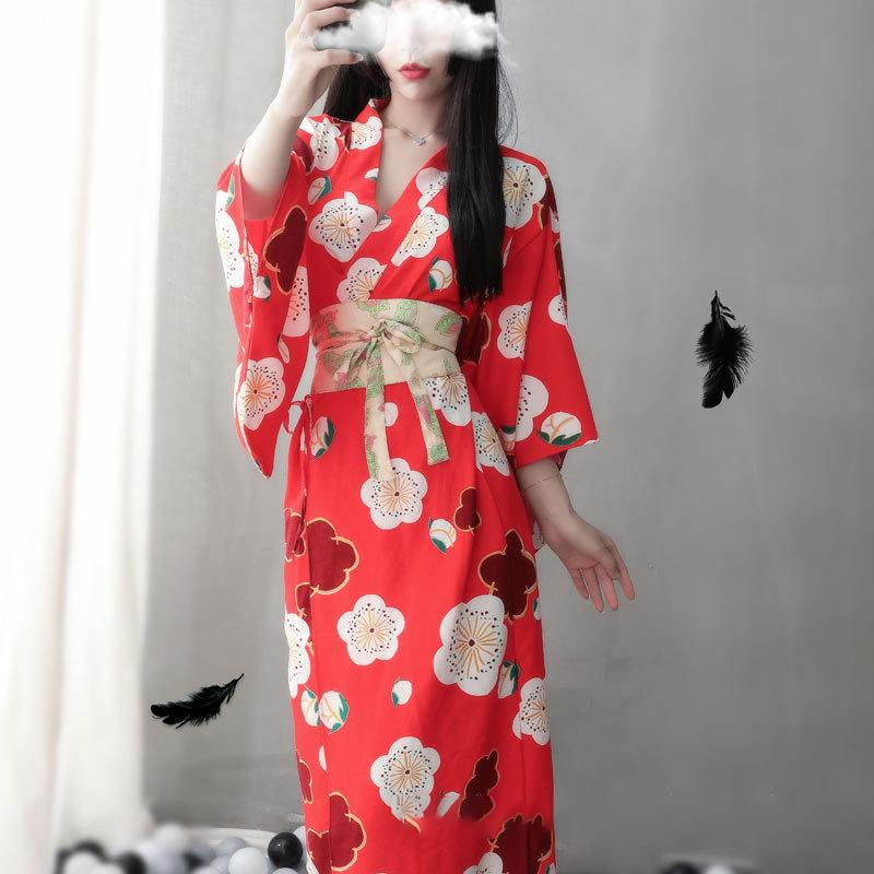 Modakawa Intimates Red / One Size Sakura Print Japanese Kimono Lingerie Nightdress
