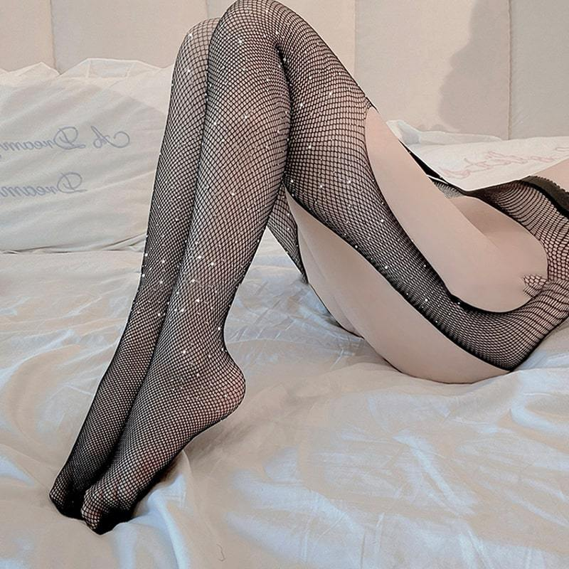 Modakawa Intimates Sexy Crystal Fishnet One Piece Stockings