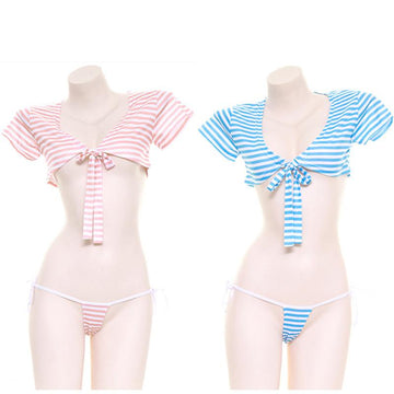 Modakawa Intimates Stripe Lace Up T-shirt Candy Color Lingerie Set