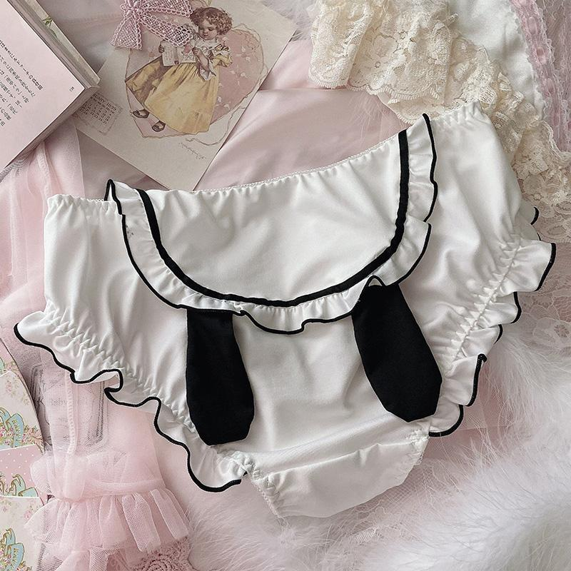 Modakawa Intimates White / M Bunny Ears Lace Ruffle Fuzzy Ball Panties