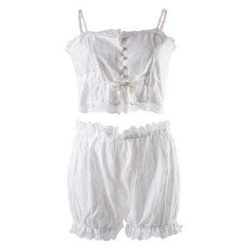 Modakawa Intimates White / M Ruffle Lace Tank Top Lingerie Set