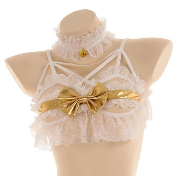 Modakawa Intimates White / One Size Little Devil Wings Lace Ruffle Bow Bells Lingerie Set