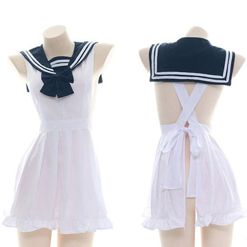 Modakawa Intimates White / One Size Uniform School Sailor Collar Stripe Bow Dress