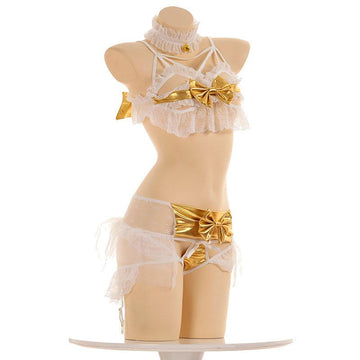 Modakawa Intimates White & Yellow / One Size Little Devil Wings Lace Ruffle Bow Bells Lingerie Set