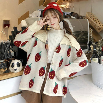 Modakawa Jacket Apricot B Love Heart Strawberry Lapel Sweater