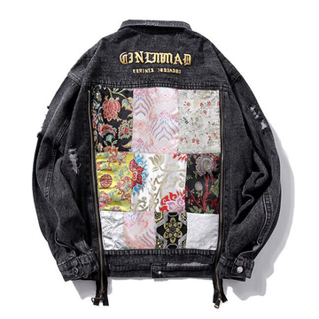 Modakawa Jacket Black / S Botanical Floral Embroidery Denim Jacket