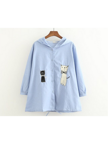 Modakawa Jacket Blue Cute Cat Embroidery Thin Coat