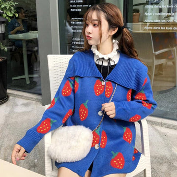 Modakawa Jacket Blue Love Heart Strawberry Lapel Sweater