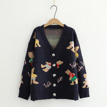 Modakawa Jacket Blue / One Size Button V-Neck Bear Knitted Sweater Jacket