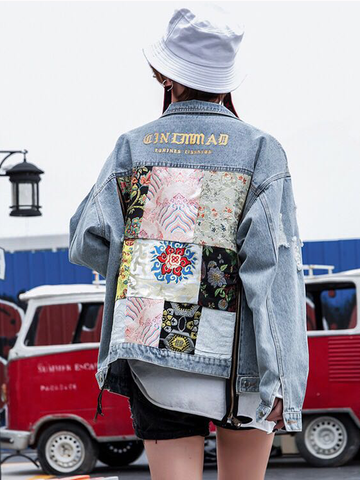 Modakawa Jacket Botanical Floral Embroidery Denim Jacket