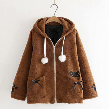 Modakawa Jacket Brown / One Size Cat Bowknot Pocket Hooded Coat Jacket Fuzzy Ball