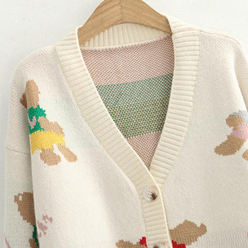 Modakawa Jacket Button V-Neck Bear Knitted Sweater Jacket