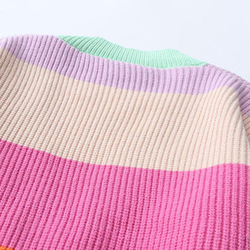 Modakawa Jacket Candy Color / One Size Candy Color Block Sweater Jacket