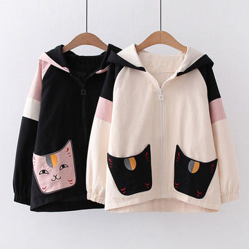 Modakawa Jacket Cat Pocket Color Block Zipper Hooded Jacket