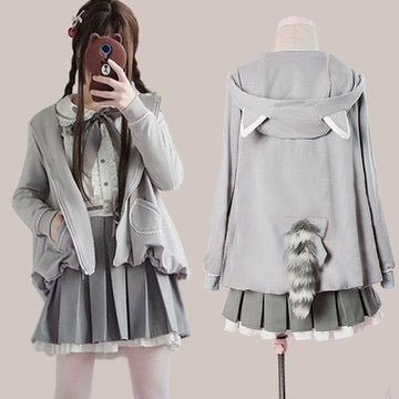 Modakawa Jacket Ears Hooded Tail Jacket Bow Tie Ruffle Shirt Lace Up Pleated Skirt