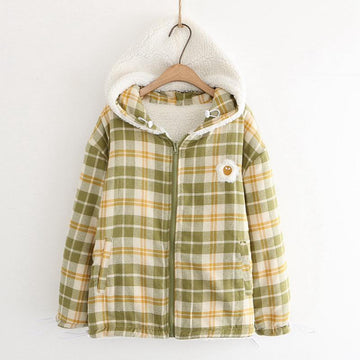 Modakawa Jacket Green / One Size Plaid Embroidery Hooded Jacket Coat