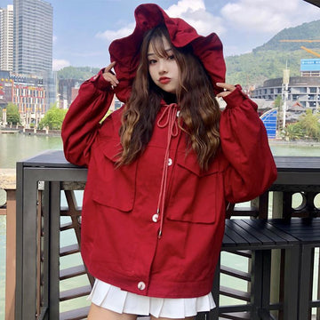 Modakawa Jacket Halloween Holiday Red Ruffle Jacket