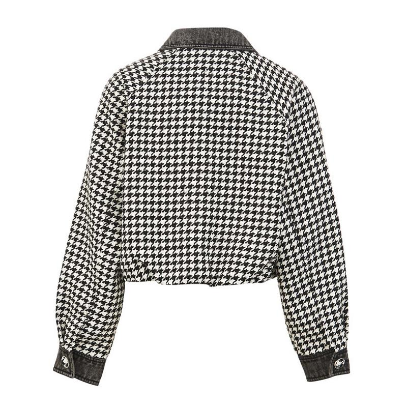 Modakawa Jacket Houndstooth Pocket Button Short Jacket