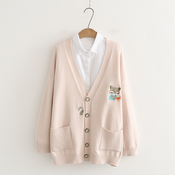 Modakawa Jacket Japanese Cartoon Fox Embroidery Cardigan Coat