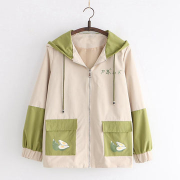 Modakawa Jacket Khaki / S Avocado Japanese Color Block Hooded Jacket