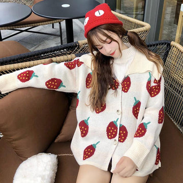 Modakawa Jacket Love Heart Strawberry Lapel Sweater