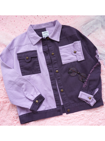 Modakawa Jacket M Purple Color Block Stitching Denim Jacket