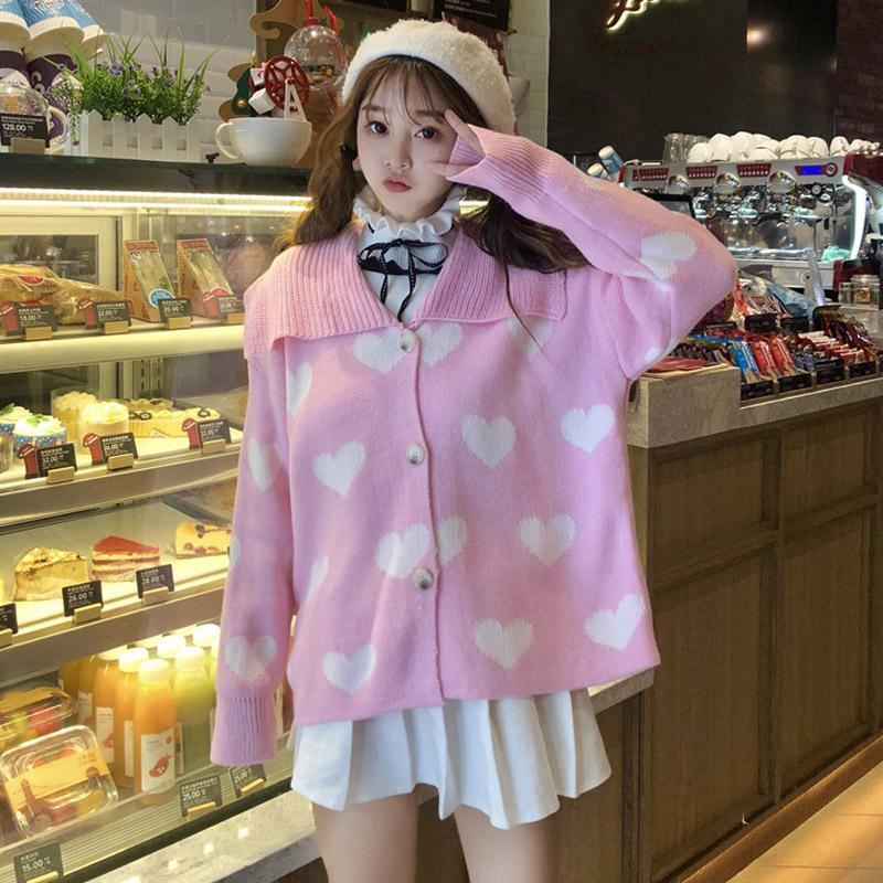 Modakawa Jacket Pink Love Heart Strawberry Lapel Sweater