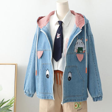 Modakawa Jacket Rabbit Embroidery Hoodie Ears Denim Coat