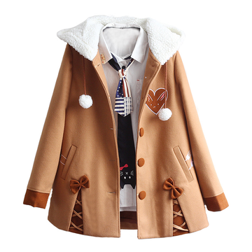 Modakawa Jacket S Bunny Bowknot Plush Hooded Coat