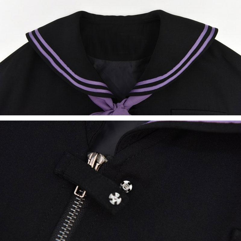 Modakawa Jacket School Navy Collar Letter Moon Print Zipper Jacket