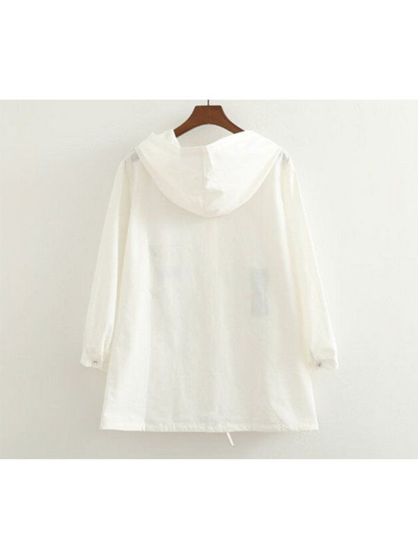 Modakawa Jacket White Cute Cat Embroidery Thin Coat