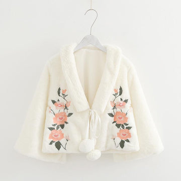 Modakawa Jacket White / One Size Sweet Flower Embroidery Short Jacket Fuzzy Ball