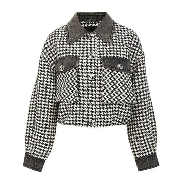 Modakawa Jacket White / S Houndstooth Pocket Button Short Jacket